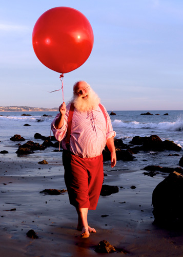 santa with balloon Malibu Photo shoot